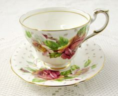 Paragon Golden Emblem Tea Cup and Saucer with Roses by TheAcreage