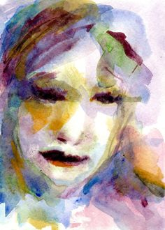 Celia Purples Orange and Green Watercolor of a by CGallaFineArt, $45.00