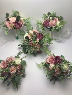 Set of 5 Bridesmaids Bouquets Spring Wedding Bouquets Bridal Bouquets Boho Bouquets Blush Pink Spring Wedding Bouquets, Bridal Bouquet Pink, Flower Bouquet Wedding, Rose Bouquet, Mauve Wedding, Wedding Colors, Wedding Set, Chic Wedding, Wedding Ideas