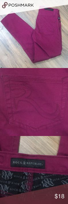 Magenta Rock and Republic jeans Sz 0 Magenta Rock and Republic jeans Sz 0 there is a tiny white spot above the left front pocket that is pictured. No other rips stains or defects. Check out my closet for other items and bundle for extra savings!! Rock & Republic Jeans Skinny