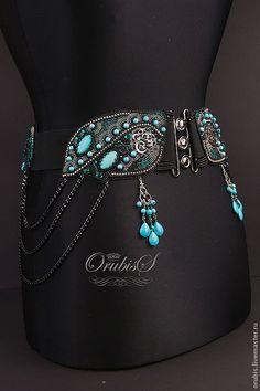 Купить HABIBI - морская волна, бирюзовый цвет, пояс женский, бирюза, ручная авторская работа