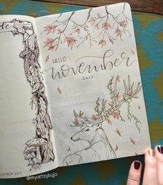 Bullet journal monthly cover page, November cover page, bullet journal Autumn theme, Autumn drawing. @myartsybujo