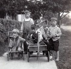 Our Gang 4 Boys and Girl WAgon Playing Kids Children vintage photo Reprint Photography