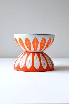 "Near Mint Small 5.5"" Glossy Orange on White Cathrineholm Lotus Vintage Enamel Metal Bowl, Made in Norway, Sunny Scandinavian Modern Kitchen on Etsy, $85.00"