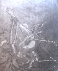 """Aguafuerte-aguatinta. """"El escape"""".  Natalia Bernardi (de cuando todavía tenia tiempo de dibujar...)"""