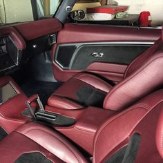DJ Designs chevelle #BecauseSS custom interior red black grey, rear deck trunk, console, and door panels. grilles