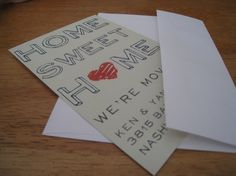 These are my fave!! Moving announcement postcards :)
