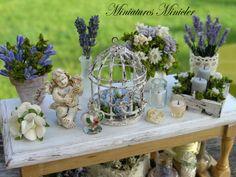 Miniature Dollhouse Gardener Workshop  Lavender Theme by Minicler