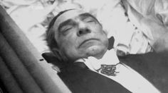 Bela Lugosi – memento mori. Prior to the service, his body lay in state in full Dracula garb.