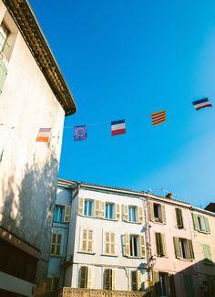 Provence city pastel sky destination love blue sky city | Amber + Alexis | South of France Destination Wedding | Jenn Emerling