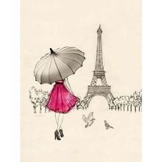 Eiffel Tower Prints, Prints, Paintings & Wall Art for Sale Cute Drawings, Drawing Sketches, Sketching, Drawing Drawing, Paris Drawing, Torre Eiffel Paris, Paris Illustration, Illustration Pictures, Paris Wallpaper