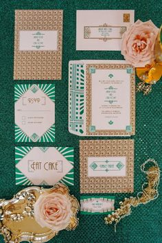 Little Big Company   The Blog: 1920s Wedding Inspiration with Emerald and Gold tones by The Couture Candy Buffet Company