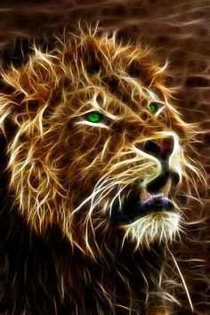 A Handsome Fractal African Male Lion. Big Cats, Cool Cats, Animals And Pets, Cute Animals, Lion Wallpaper, Male Lion, Lion Of Judah, Lion Art, Gif Animé