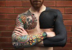 full black sleeve tattoo meaning Black Sleeve Tattoo, Full Sleeve Tattoo Design, Best Sleeve Tattoos, Top Tattoos, Trendy Tattoos, Body Art Tattoos, Tattoos For Guys, Full Tattoo, Tattoos Pics