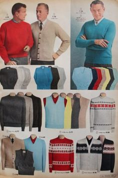 1957 Men's sweaters and sweater vests. The sleeveless  V-neck sweater vest was popular with conservative men. The vest replaced the waistcoat of a 3 piece suit. Worn in plain colors over a dress shirt and tie, it was appropriate for business wear yet added a touch of casualness men desired.  Varieties that came in bold patterns were worn over open neck sport shirts for a casual sporty look both on and off the golf course.