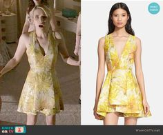 Chanel's yellow floral pleated dress on Scream Queens.  Outfit Details: http://wornontv.net/51951/ #ScreamQueens