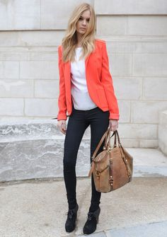 Bright colored blazer, white silk tee, leggings, and a neutral-colored work horse bag. Good to go! #workwear for creatives