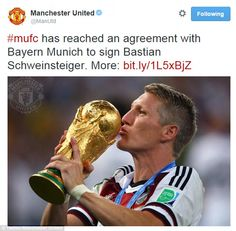 Manchester United confirmed the signing via their official Twitter account on Saturday aft...