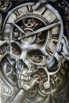 Bad Ass Skull Airbrush Style - Best Airbrush Art Images, Videos and Galleries: share, rate thousand of Pictures and discover the latest uploads! Skull Hand Tattoo, Skull Sleeve Tattoos, Best Sleeve Tattoos, Body Art Tattoos, Tatoos, Clock Tattoo Design, Skull Tattoo Design, Tattoo Designs, Airbrush Art