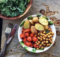 // kale, chickpeas, roasted tomatoes and potato