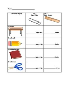measuring length of the objects with paper clips math 4 omar first grade worksheets. Black Bedroom Furniture Sets. Home Design Ideas
