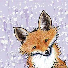 Fox on Lavender Abstract Giclée Art PRINT on Canvas Found on etsy;  KiniArt