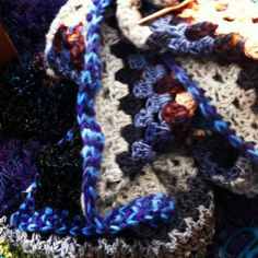 My newest large granny square #crochet blanket is almost finished