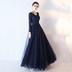 Chic / Beautiful Navy Blue Prom Dresses 2017 A-Line / Princess Long Sleeve V-Neck Appliques Lace Sequins Beading Sash Floor-Length / Long Backless Formal Dresses Navy Blue Prom Dresses, Elegant Prom Dresses, Prom Dresses 2017, Formal Evening Dresses, Trendy Dresses, Ball Dresses, Beautiful Dresses, Dress Formal, Dress Long