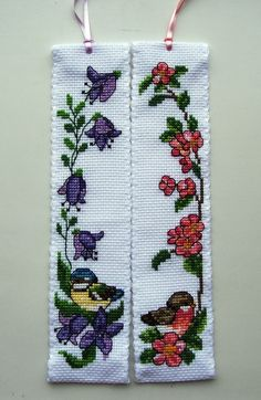 Permin Bird cross stitch bookmarks.