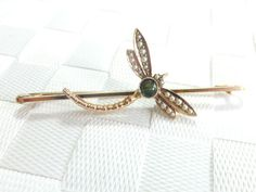 Victorian 18K Gold Tourmaline~ Seed Pearl Dragonfly Brooch