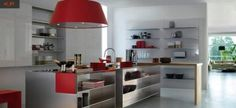 Ultra modern stainless steel kitchen decorating idea with red accent