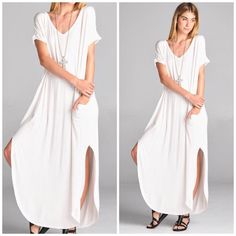 New Arrival • Ivory Side Slit Maxi Dress Beautiful Ivory slouchy oversized side slit Maxi Dress . Nwot runs big and meant to be loose . Rayon and spandex blend . Super soft . Runs large so large will fit XL up to size 16 and so listing large as XL too due to the fit . 5 star rated. Recommend nude undergarments . Vivacouture Dresses Maxi