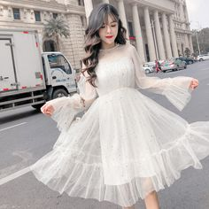 2019 the new women's dress is a fairy dress over the knee French retro skirt Yamamoto net yarn waist middle and long skirt skirt skirt skirt skirt outfit skirt for teens midi skirt Pretty Outfits, Pretty Dresses, Beautiful Dresses, Cute Outfits, Korean Dress, Korean Outfits, Casual Dresses, Fashion Dresses, Gauze Dress