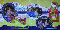 Scrapbook Page - Opening presents Christmas morning - 2 page layout with Santa's sleigh, an elf and frames from Elegant Edges - from Christmas Album 4