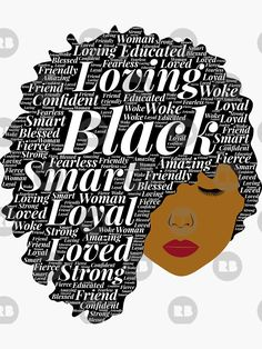 'Side Afro Puff With Words' Sticker by blackartmatters Art Black Love, Black Love Quotes, Black Girl Art, My Black Is Beautiful, Black Girl Magic, Afro Puff, Black Artwork, Wow Art, Afro Art
