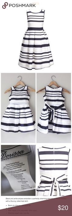 'Claudia' Sleeveless Striped Bow Dress Adorable sleeveless striped party dress with an attached belt. In excellent gently used condition. Dorissa Dresses Formal
