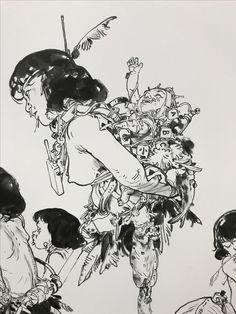 Kim Jung Gi artwork Junggi Kim, Character Art, Character Design, Drawing Sketches, Drawings, Kim Jung, Human Art, Manga Illustration, Korean Artist