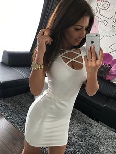 2019 Summer Sexy Slim Women Dress Solid Color U-neck Cross-belt Dress Sleeveless Plus Size Package Hip Dress Sleeveless Outfit, Belted Dress, Bodycon Dress Parties, Sexy Party Dress, Ball Dresses, Short Dresses, Types Of Dresses, Fashion Days, Women's Fashion