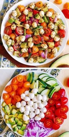 Avocado Salad with Tomatoes, Mozzarella, and Basil Pesto - healthy recipe packed with nutrients and lots of fresh ingredients! Perfect Spring and Summer salad! Small fresh Mozzarella cheese balls are delicious when combined with avocado Easy Salads, Healthy Salads, Healthy Nutrition, Healthy Eating, Easy Summer Salads, Nutrition Articles, Cucumber Recipes, Salad Recipes, Cucumber Avocado Salad