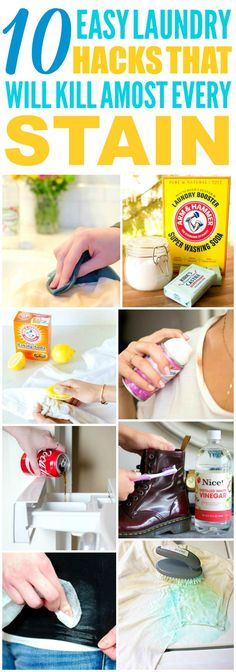 These 10 easy laundry hacks are THE BEST! I'm so glad I found these AWESOME tips! Now I have some great ways to get rid of stains! Definitely pinning!
