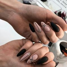 Newest and Hottest Matte Nail Art Designs Ideas … - Nail Design Ideas! - Newest and Hottest Matte Nail Art Designs Ideas … – Nail Design Ideas! Newest and Hottest Matte Nail Art Designs Ideas … Almond Acrylic Nails, Cute Acrylic Nails, Glitter Nails, Gradient Nails, Holographic Nails, Almond Nail Art, Acrylic Nails For Summer Coffin, Black Almond Nails, Gold Nail