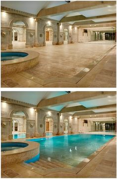 Who says you don't have room for a pool? Hydrofloors variable depth swimming pool floors can be simultaneously a deep diving pool, a child friendly shallow depth pool or a mid depth pool for exercise and water games whilst also offering the ability to be completely closed for security. The floor just rises and the water filters through! this is so cool! - interiors-designed.com