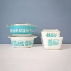 Pyrex Turquoise Butterprint Set