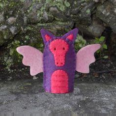 Pink and Purple Dragon Finger Puppet  Felt Dragon by cherylasmith