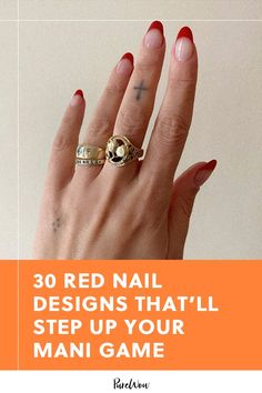It's time to paint the town red, starting with your nails. From the classic french mani to bedazzled jewels, here are 30 red nail designs to try now. Ruby Nails, Bee Nails, Bling Nails, Swag Nails, Statement Nail, Date Night Makeup, Hello Kitty Nails, Different Shades Of Red, Jelly Nails