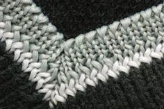Mitered corners are used in a variety of projects besides blankets, as in this neck ribbing.  increasing one stitch before and one stitch after the markers at each corner.