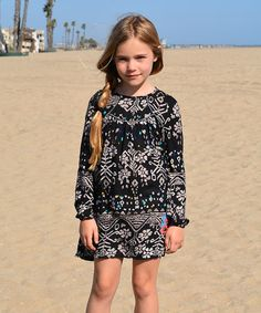 Look at this #zulilyfind! Black Bohemian Long-Sleeve Dress - Toddler & Girls #zulilyfinds