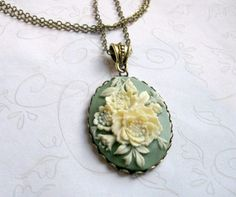 Cameo Necklace, sage green, long chain, vintage style - flower necklace on Etsy, $24.00