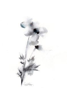 Minimalist floral watercolor painting ORIGINAL by CanotStop