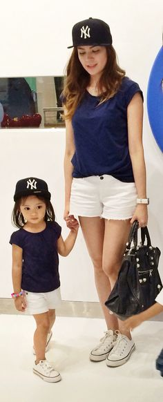 Matching mom and daughter outfit switch the Yankees hat for a Boston tho 6f319f6dde3